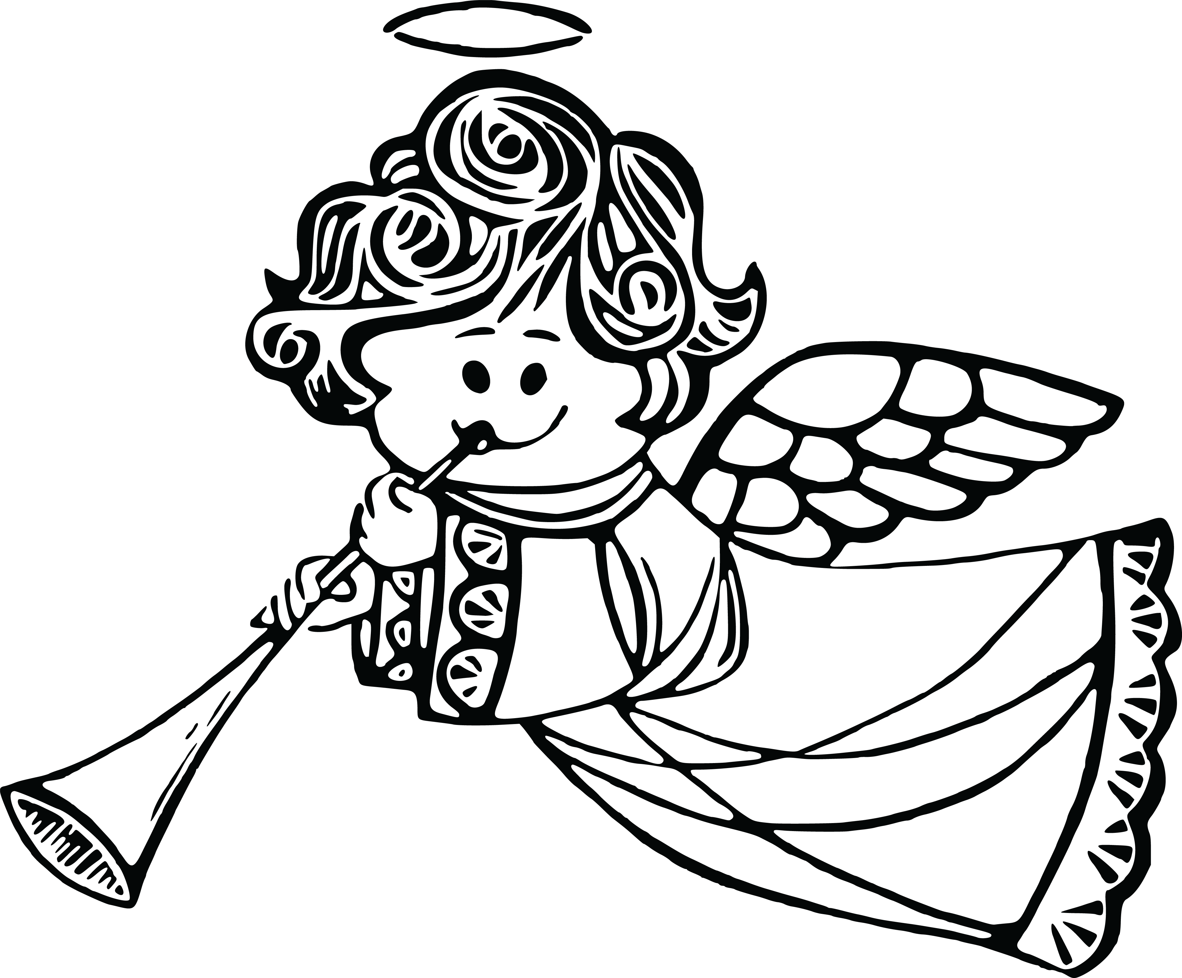 Free Clipart Of a cute angel playing a horn
