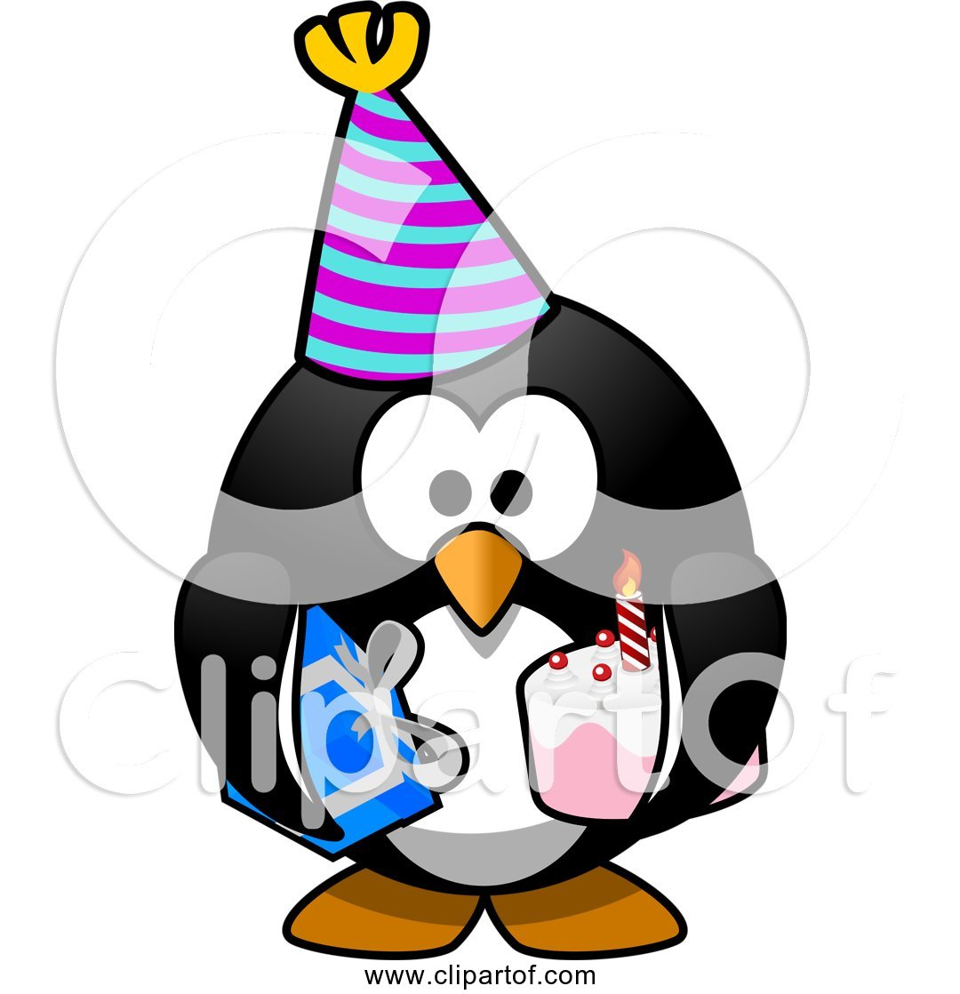 Pleasant Free Clipart Of Cartoon Birthday Party Penguin With Cake Funny Birthday Cards Online Necthendildamsfinfo