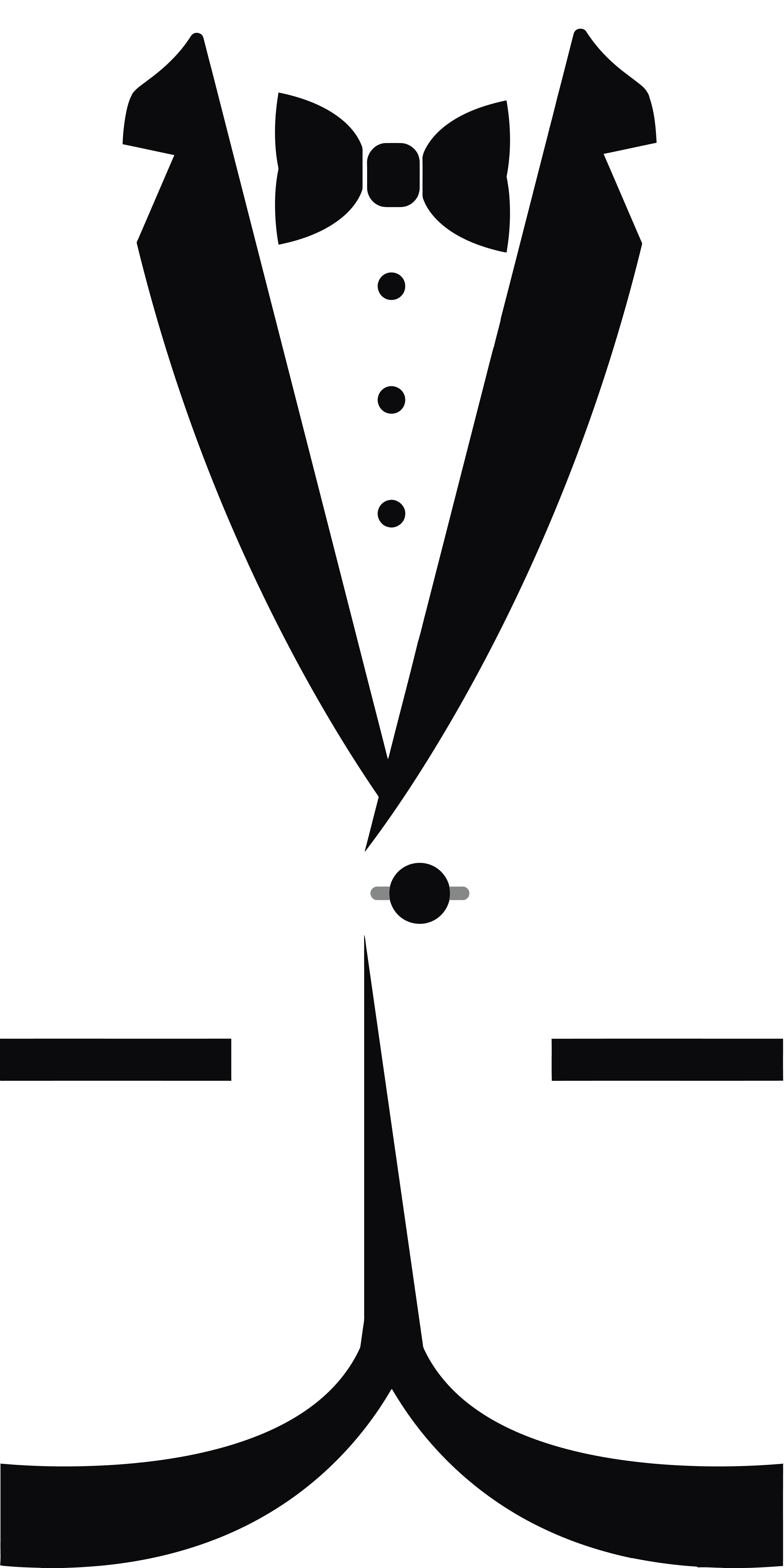 Free Clipart Of A black and white formal bow tie and tuxedo