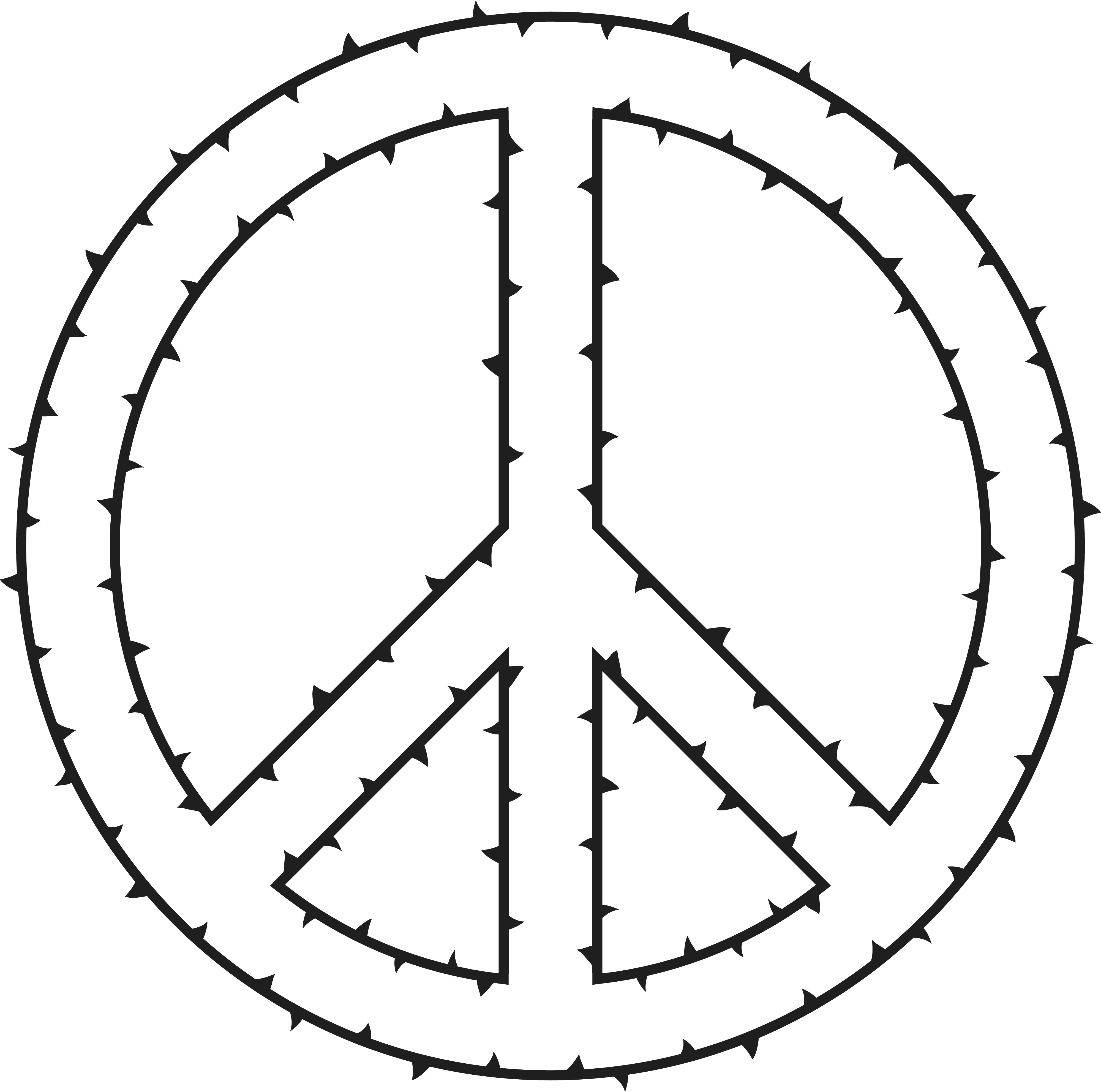 Clipart Of A peace symbol made of thorns