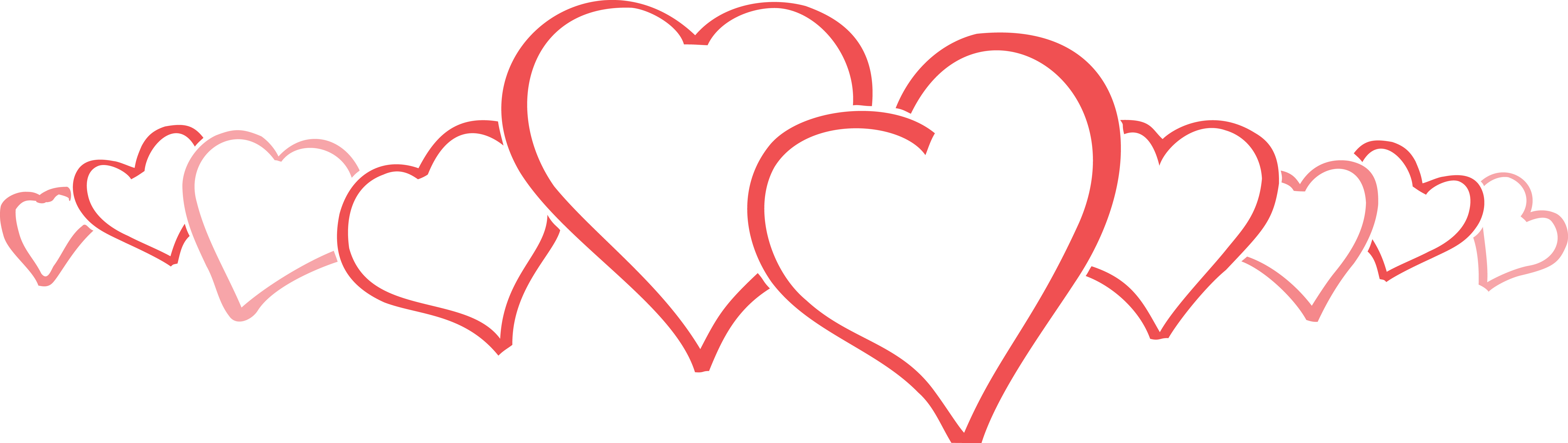 Clip Art Line Of Hearts : Free clipart of a row big and little love hearts