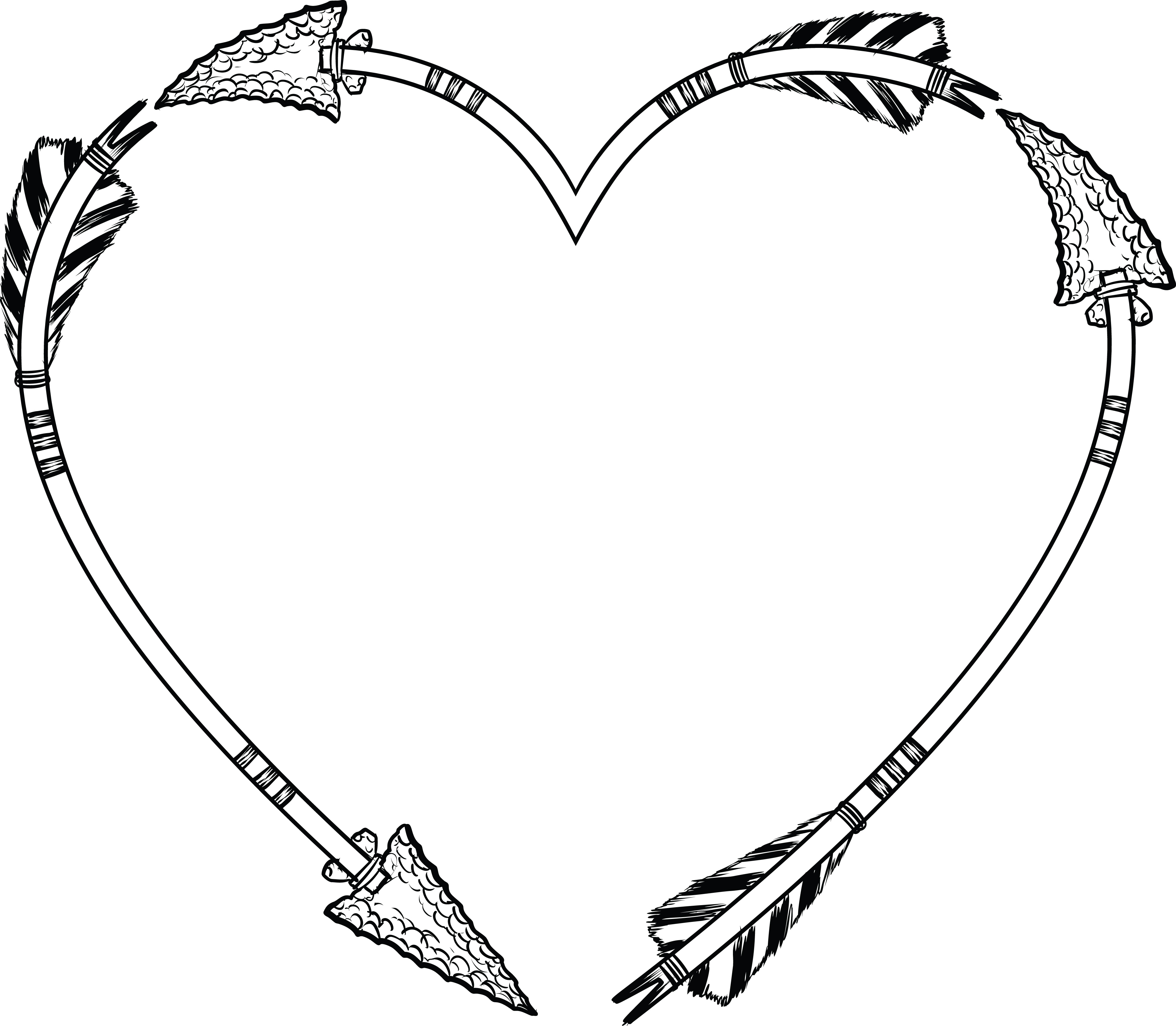 Free Clipart of a flint arrow heart shaped frame
