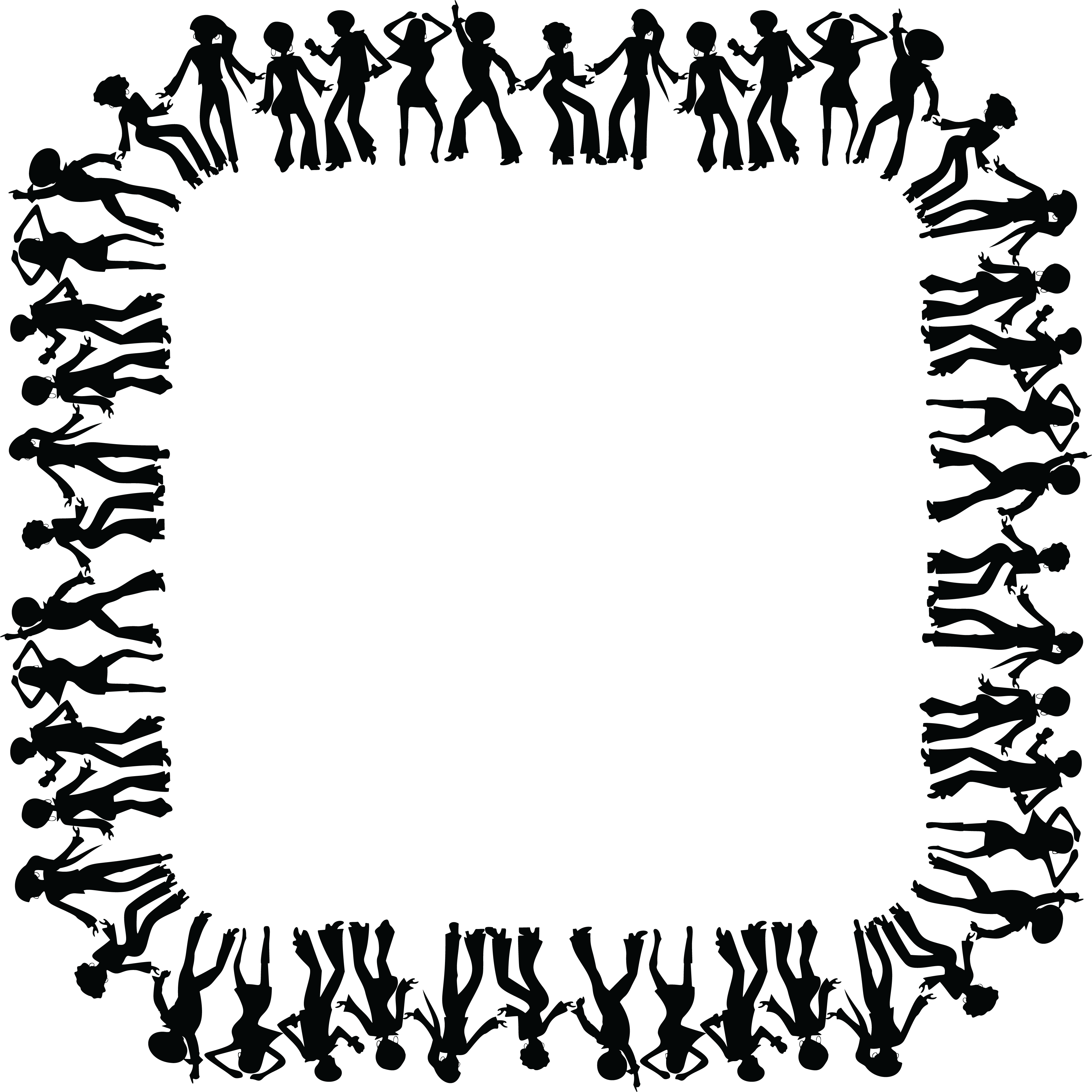 Free Clipart of a square black and white border frame of disco dancers