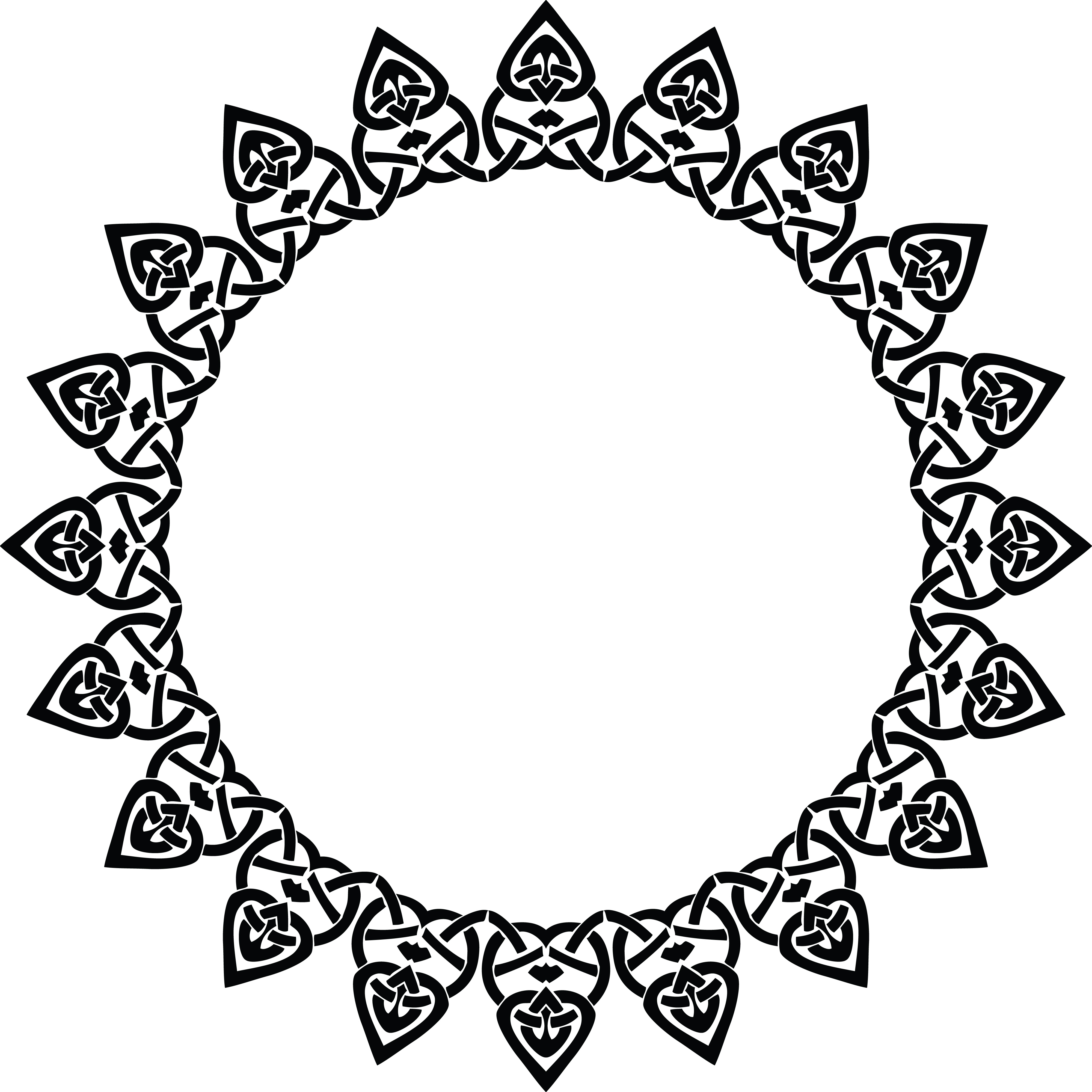 Free Clipart Of A Celtic Round Frame Border Design Element In Black