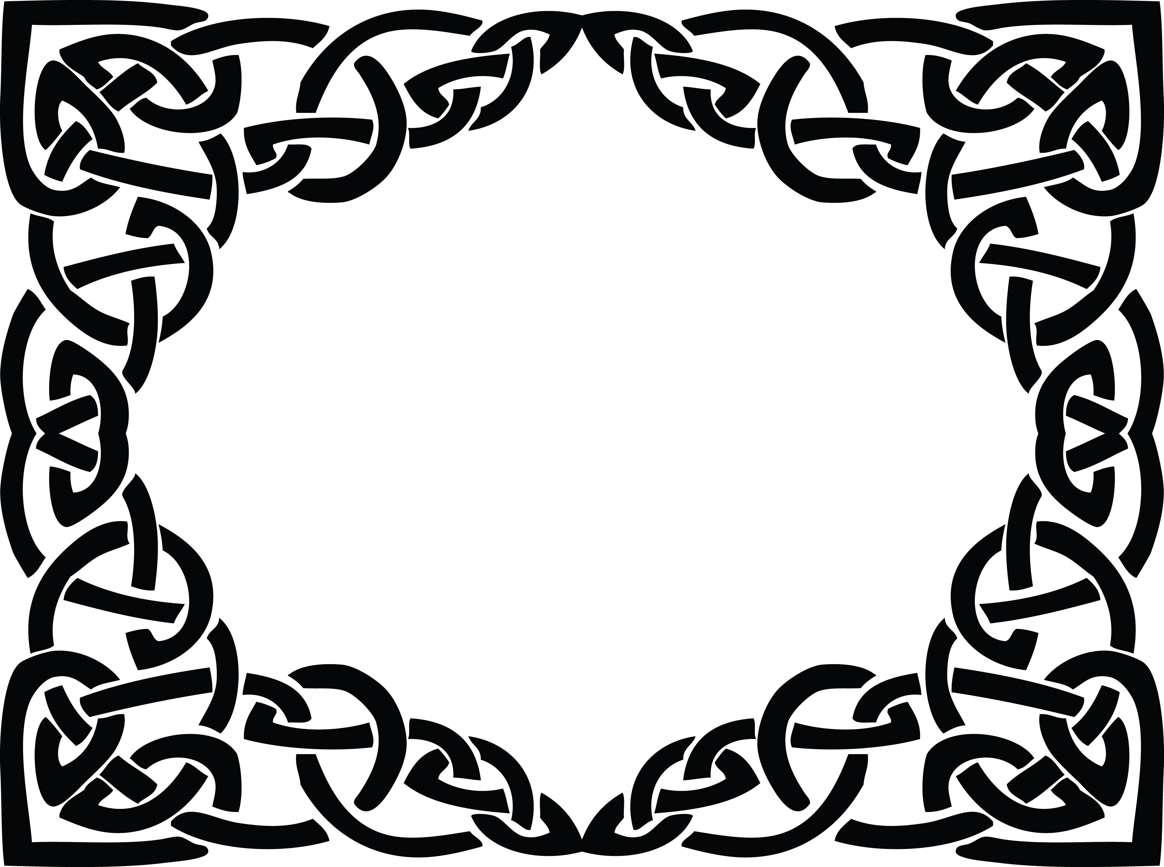frame border design. Free Clipart Of A Celtic Rectangle Frame Border Design Element In Black And White Knots