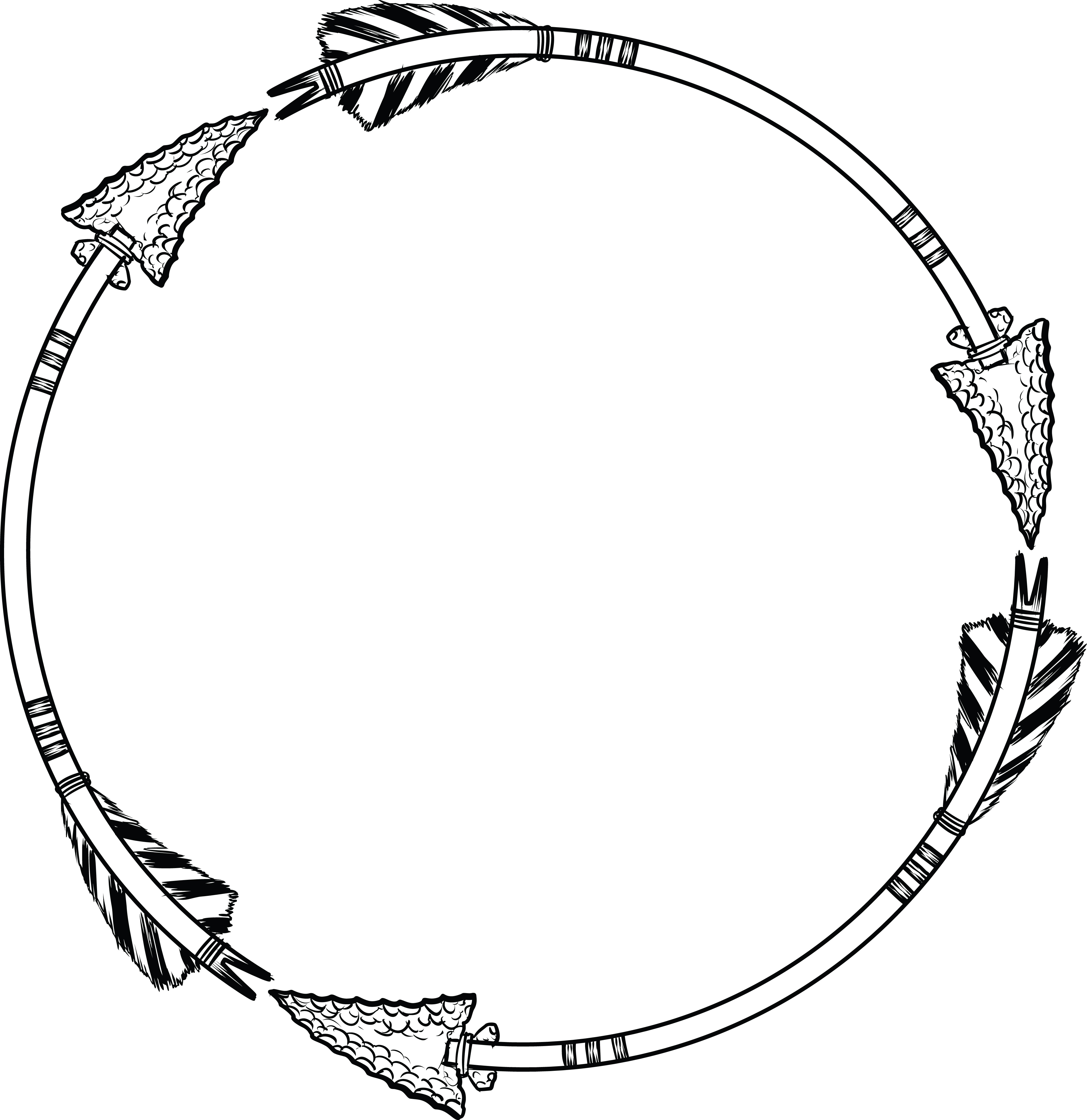 free clipart of a flint arrow circle shaped frame rh free clipartof com circle clip art numbers 1-10 circus clipart black and white