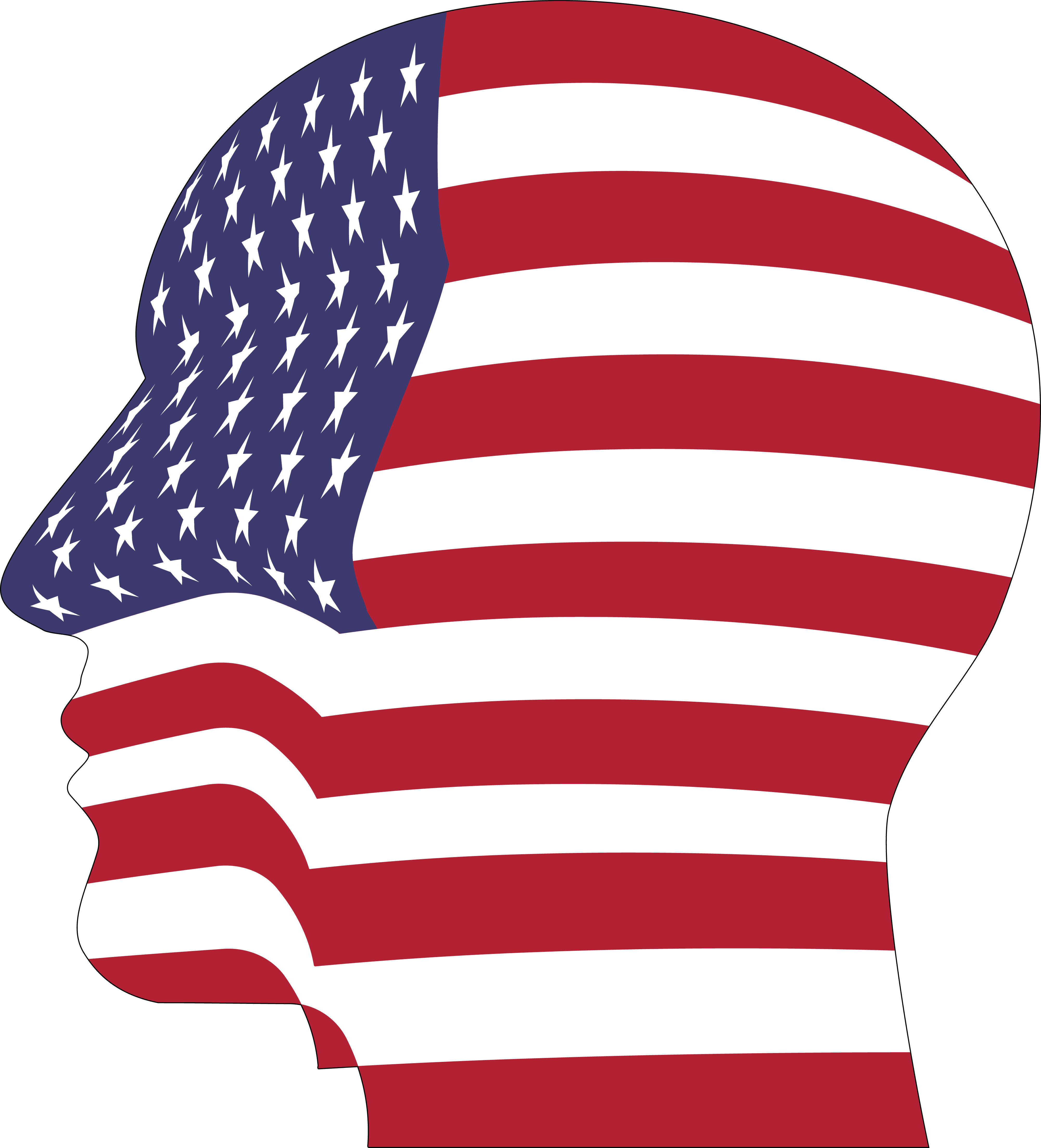 clipart of a profiled head with an american flag pattern rh free clipartof com african american free clip art african american free clip art
