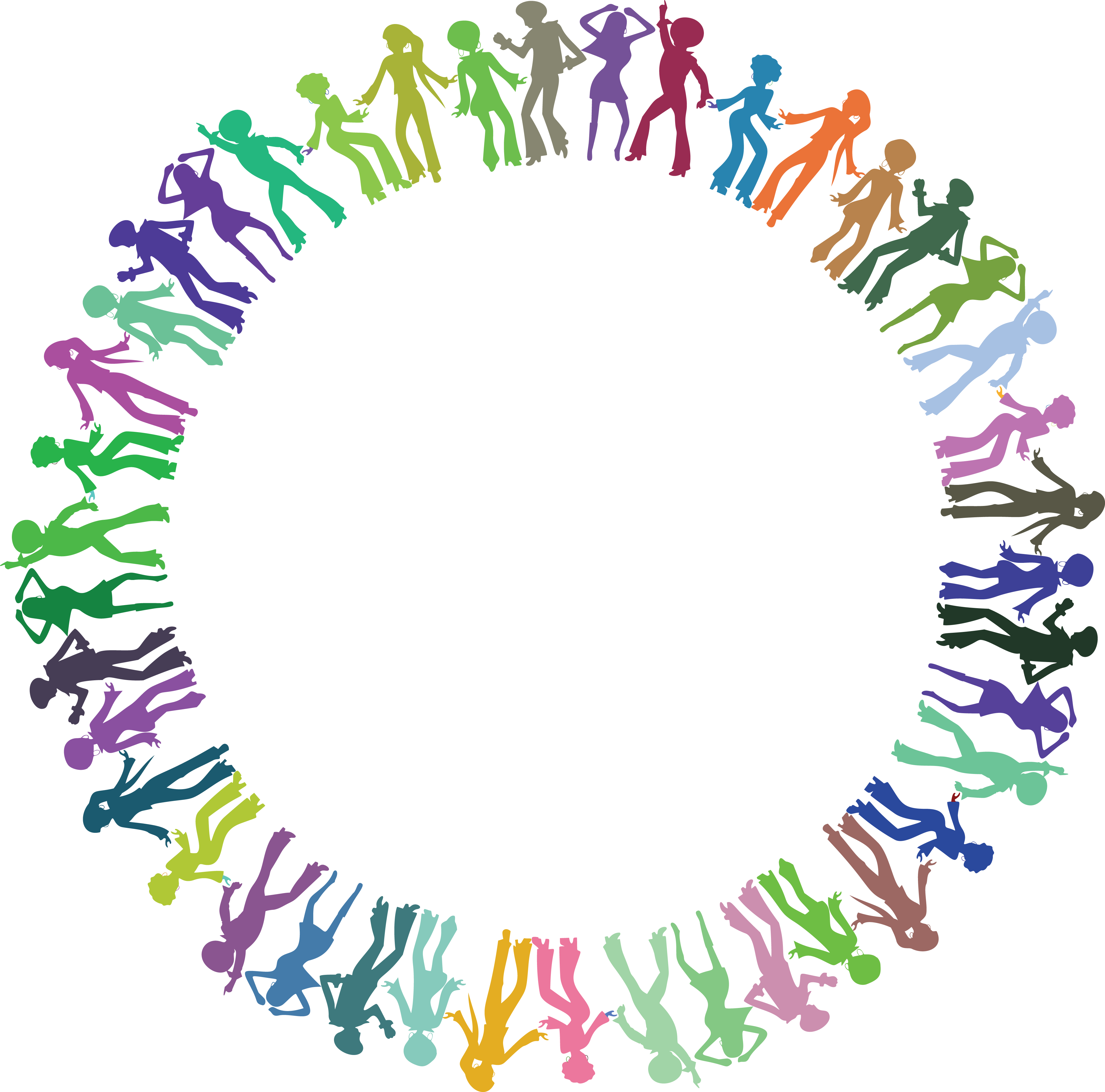 Free Clipart of a round border frame of colorful disco dancers