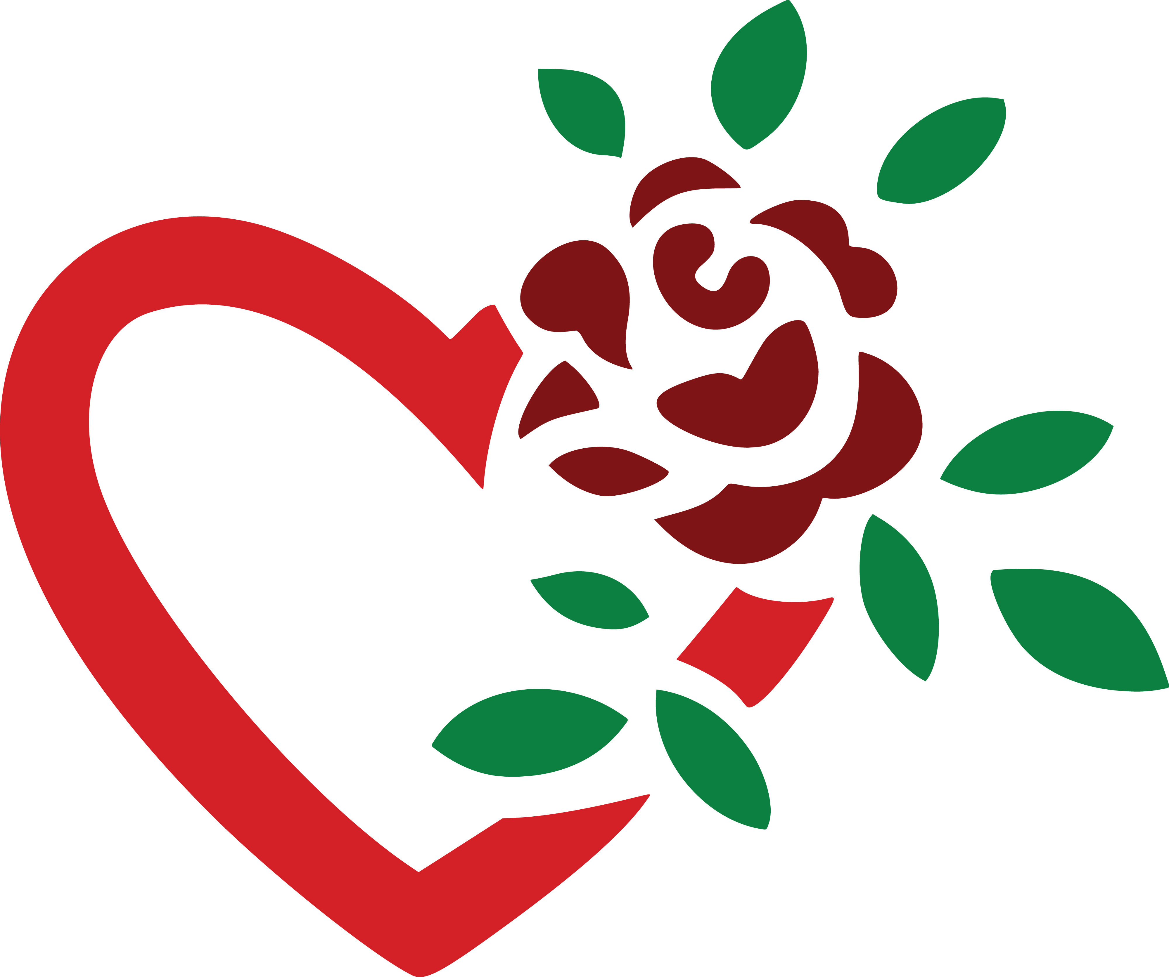 free clipart of a fully bloomed red rose and love heart rh free clipartof com