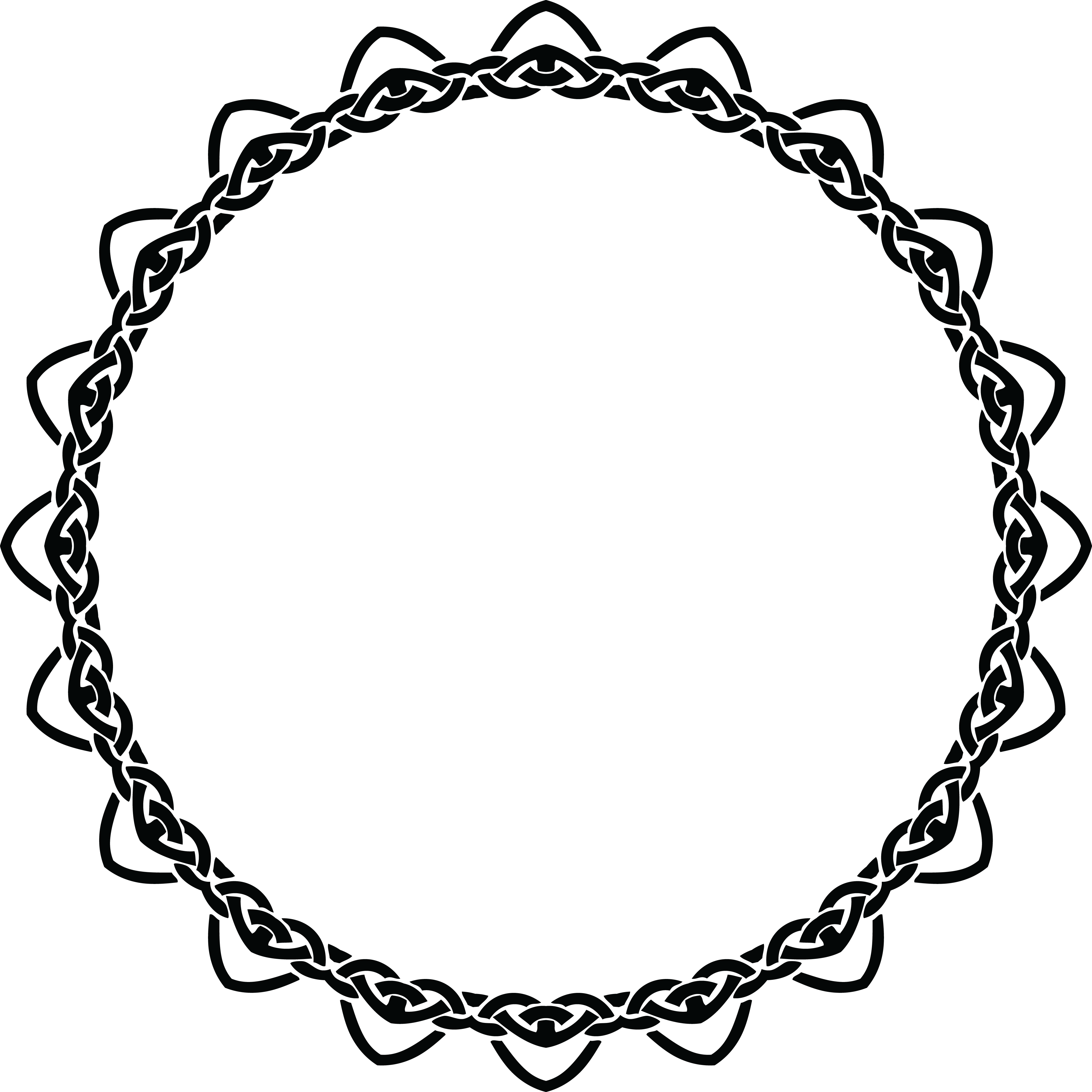 Free Clipart Of A Celtic Round Frame Border Design Element In Black And White Knots 0001344
