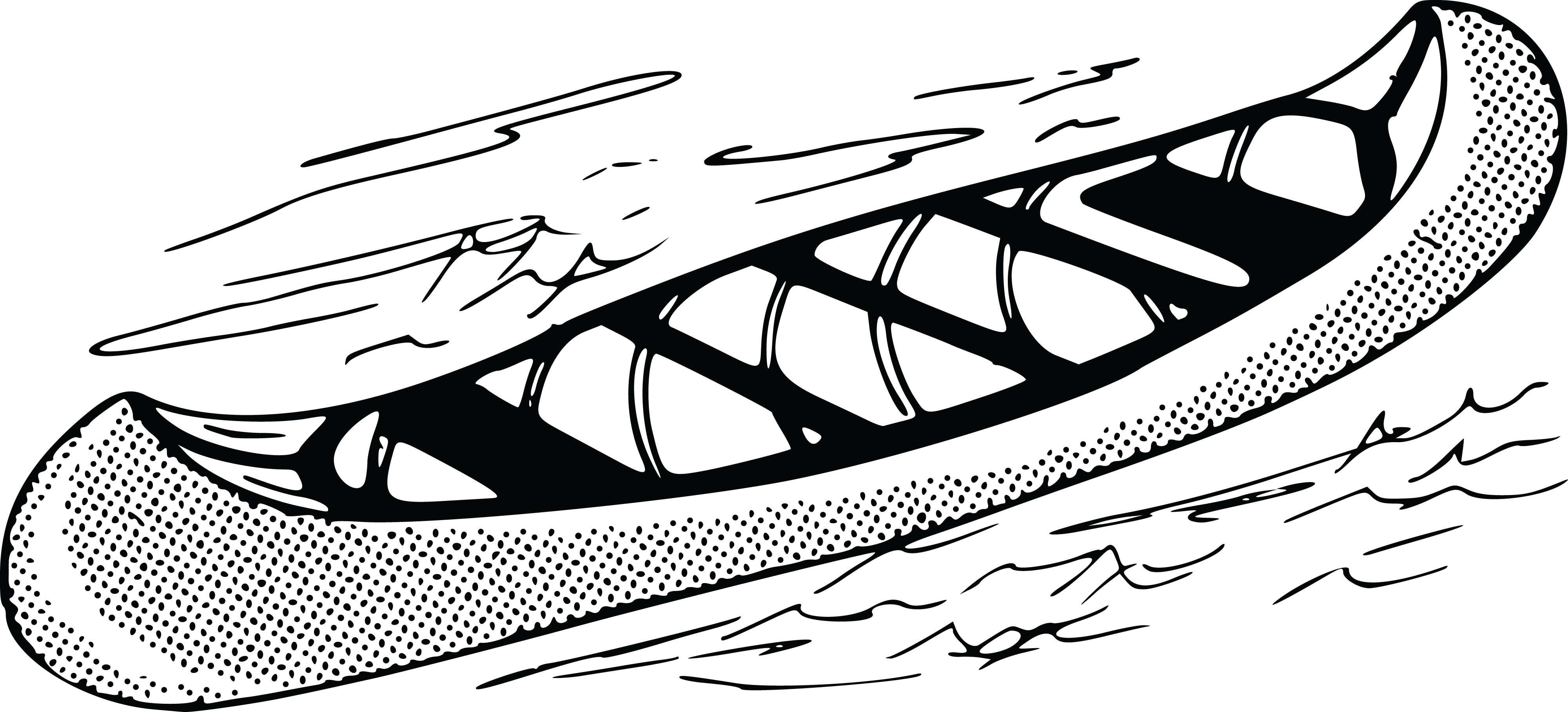 Free Clipart Of A Retro Black And White Canoe 0001356