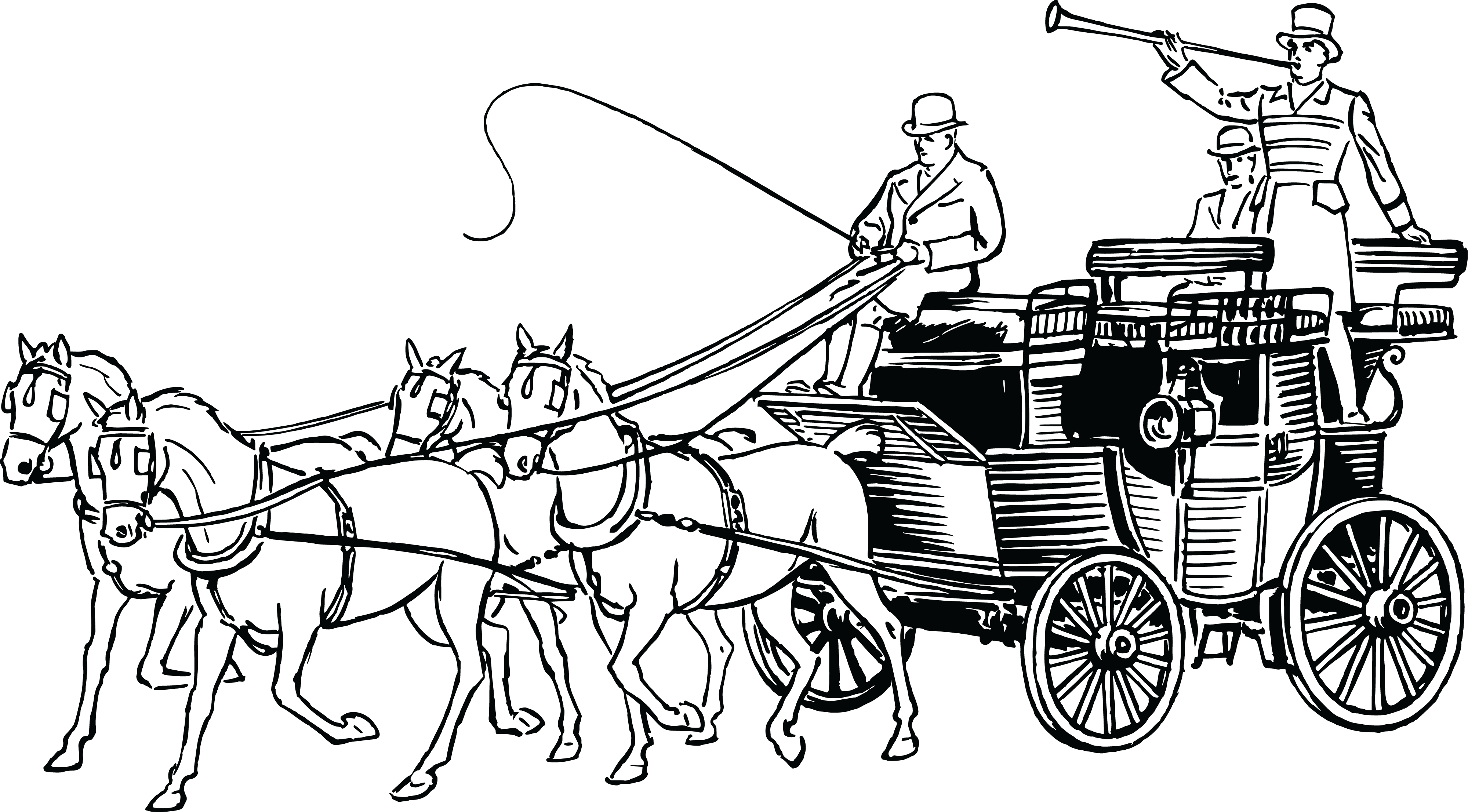 Free Clipart Of A Retro Black And White Horse Drawn Carriage