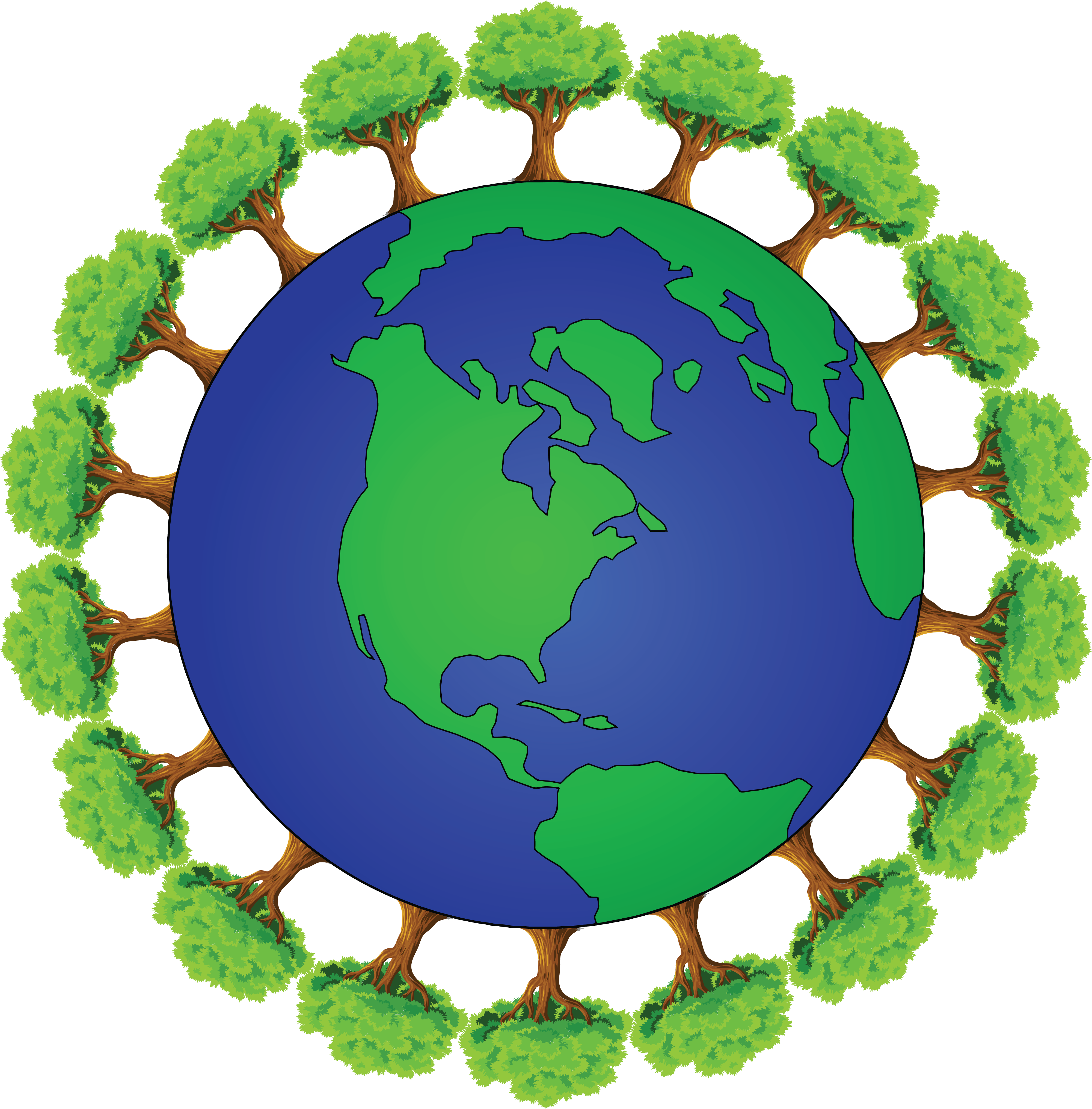 free clipart of planet earth encircled with trees rh free clipartof com planet earth in space clipart planet earth black and white clipart