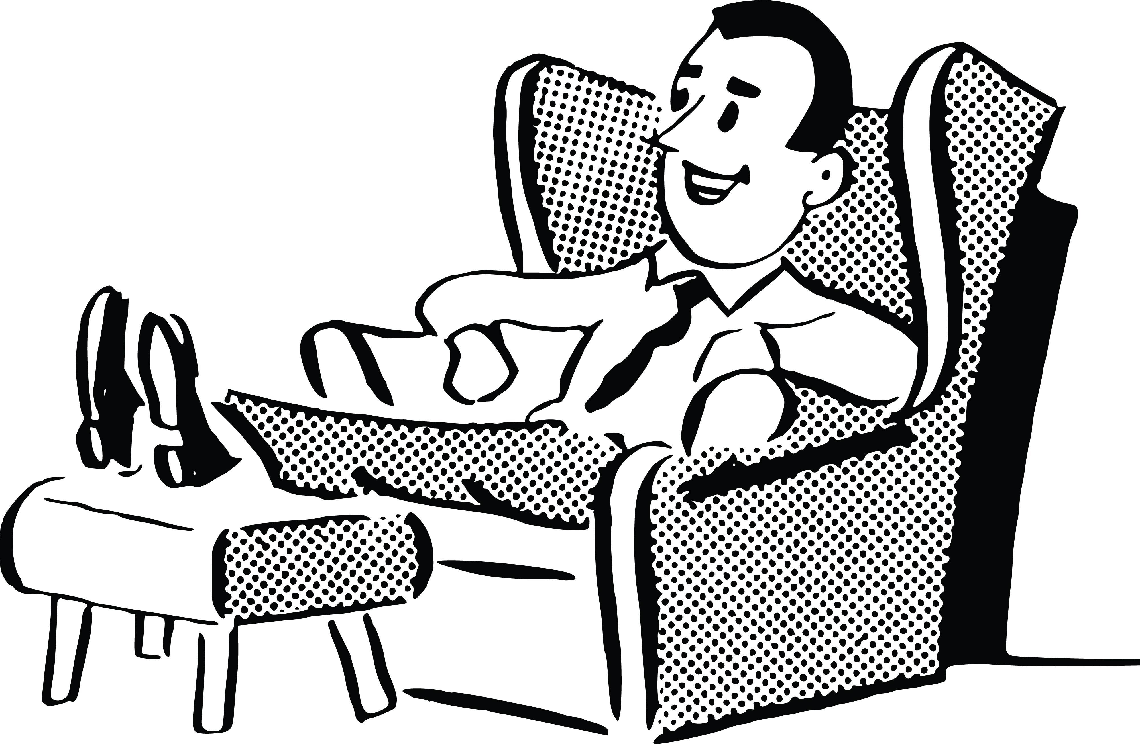 free clipart of a retro man relaxing in a chair, black and white