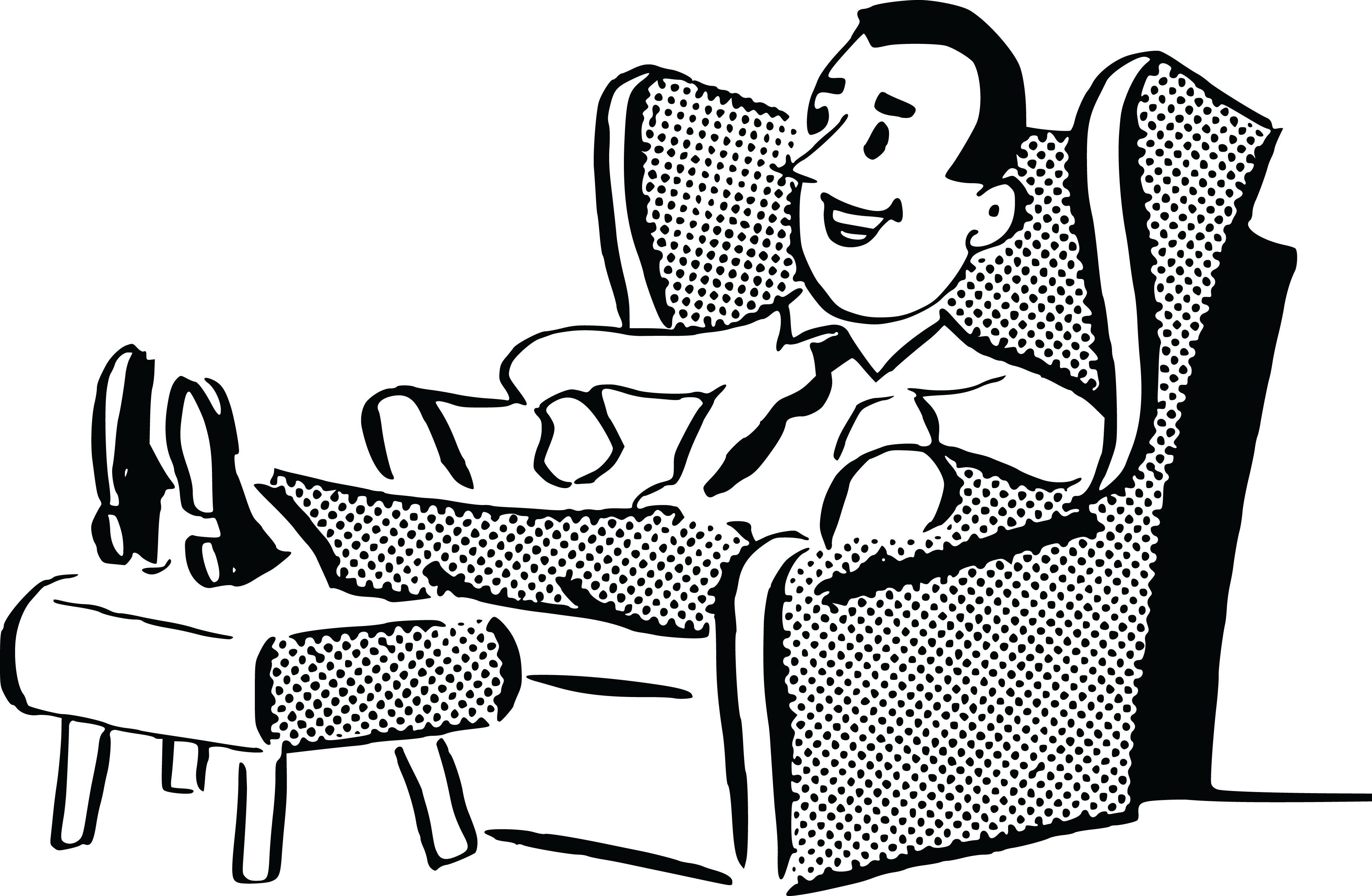 Black and white chair drawing - Free Clipart Of A Retro Man Relaxing In A Chair Black And White By 0001379