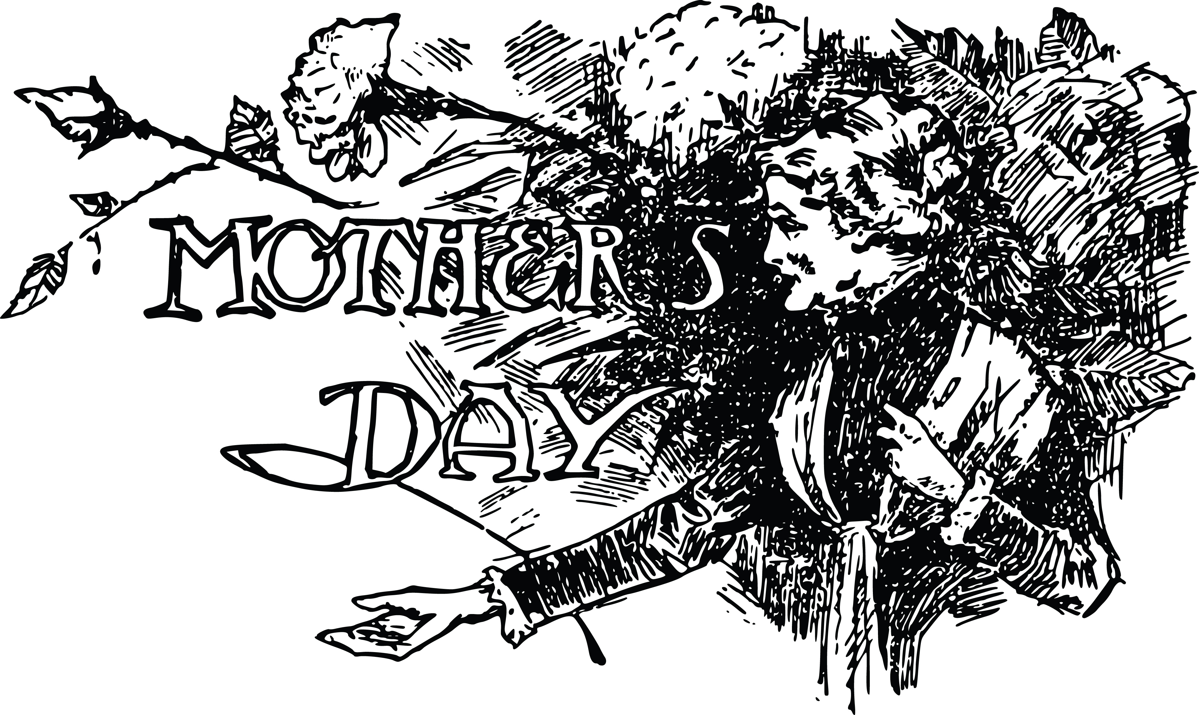 clipart of a vintage black and white mothers day design