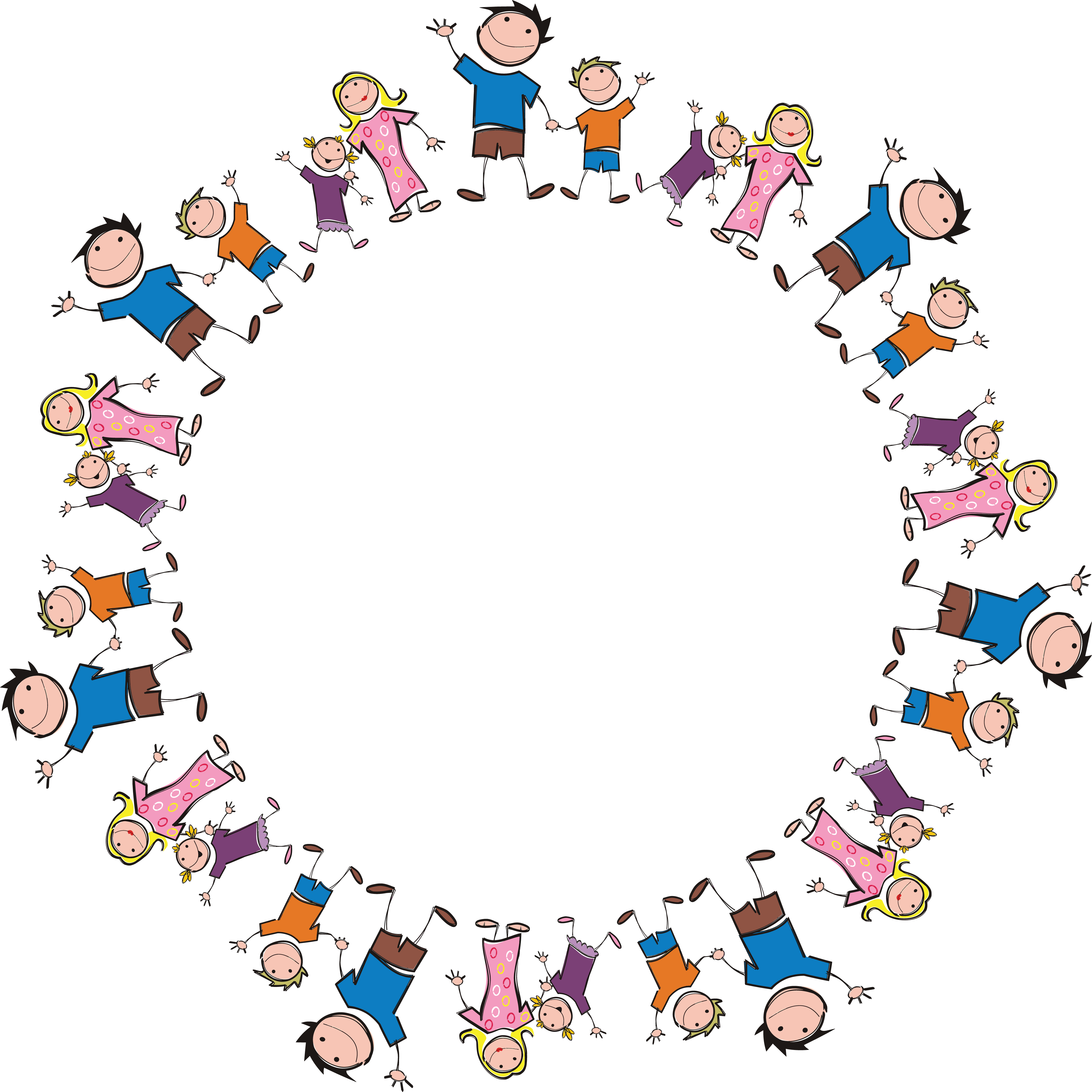 Free Clipart Of A Round Frame Made Stick Family Members 0001409