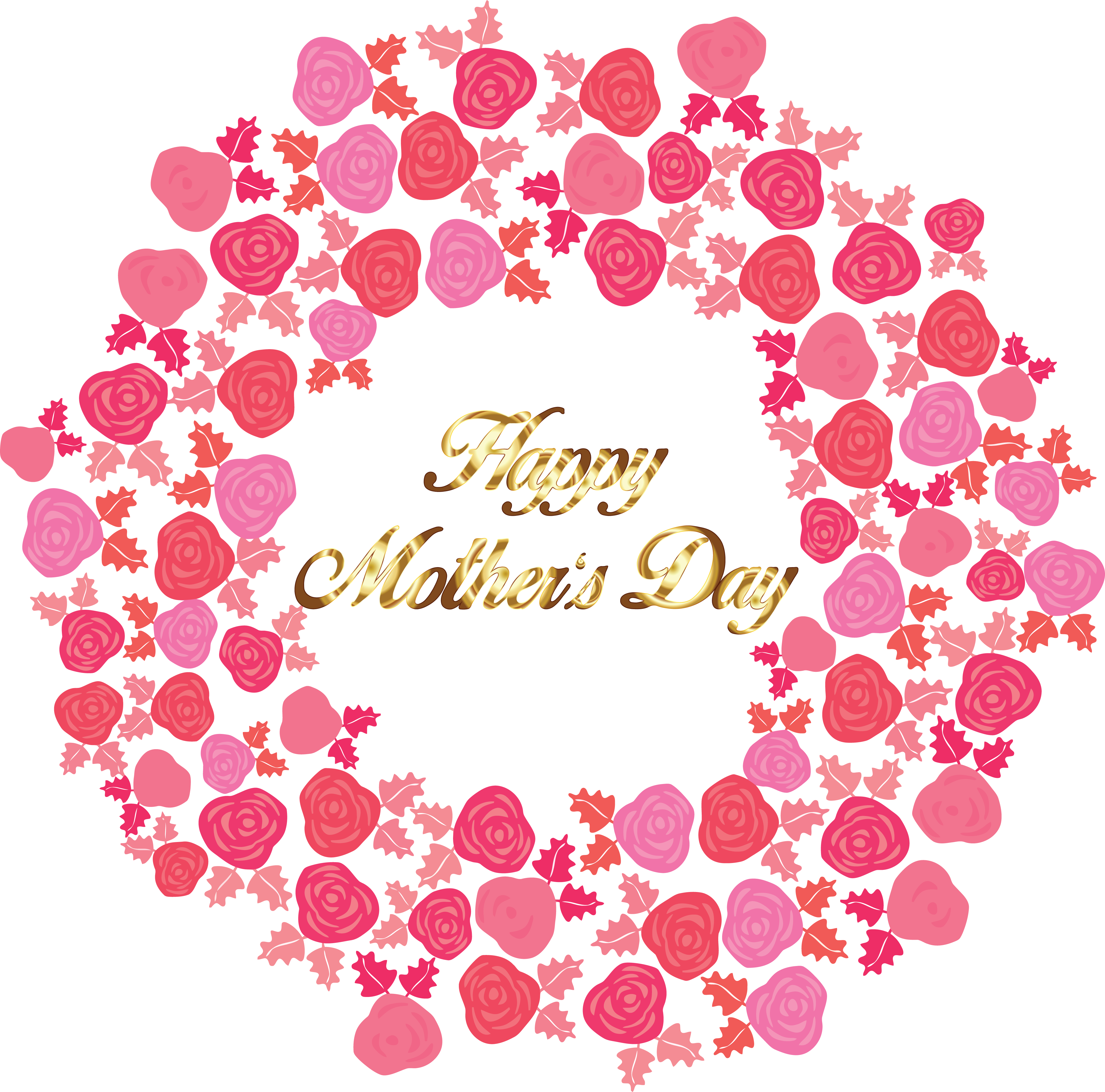 Free Clipart Of A Gold Happy Mothers Day Greeting In A Circle Of