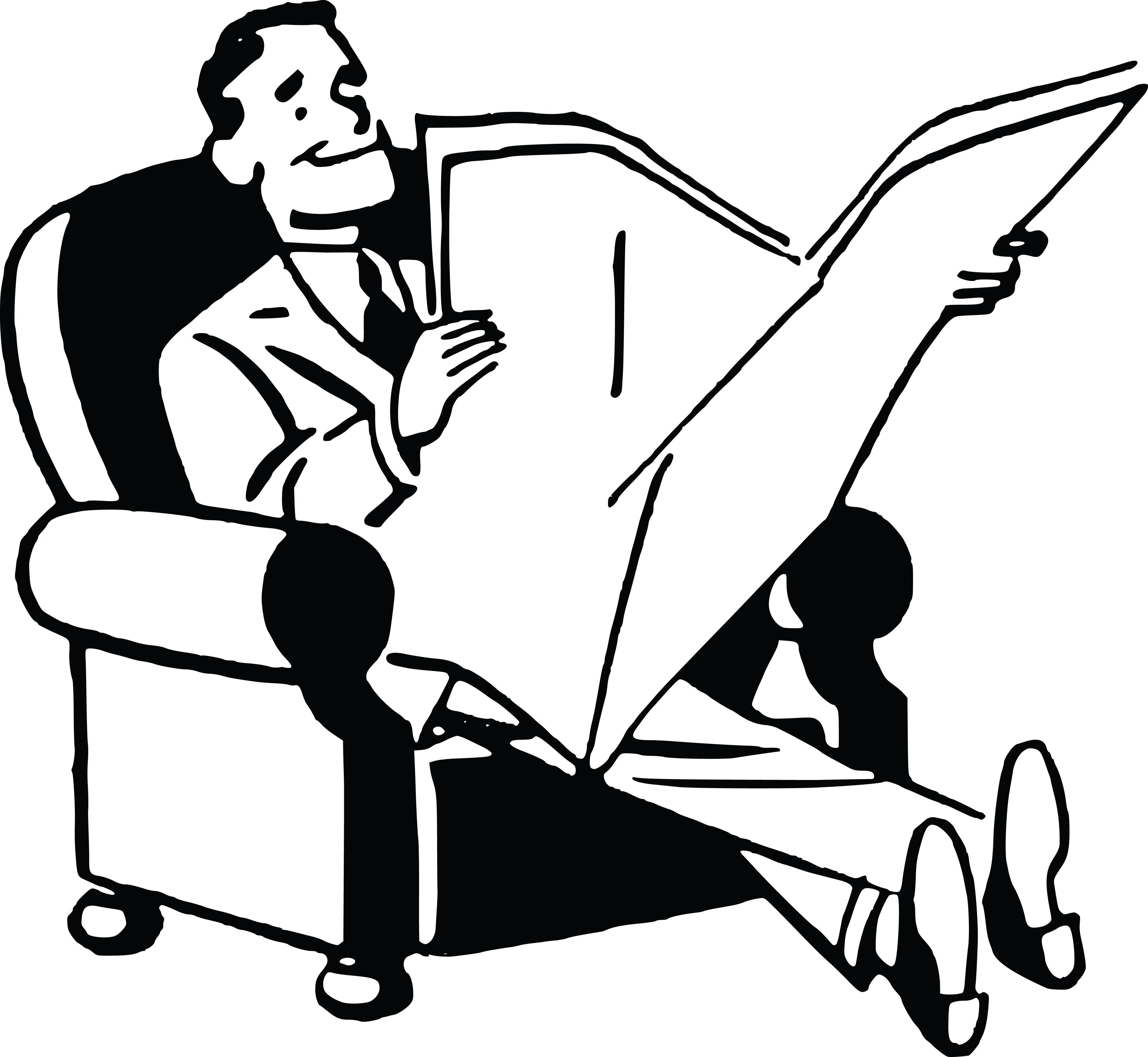 Free Clipart Of A Black and White Retro Man Reading a ...