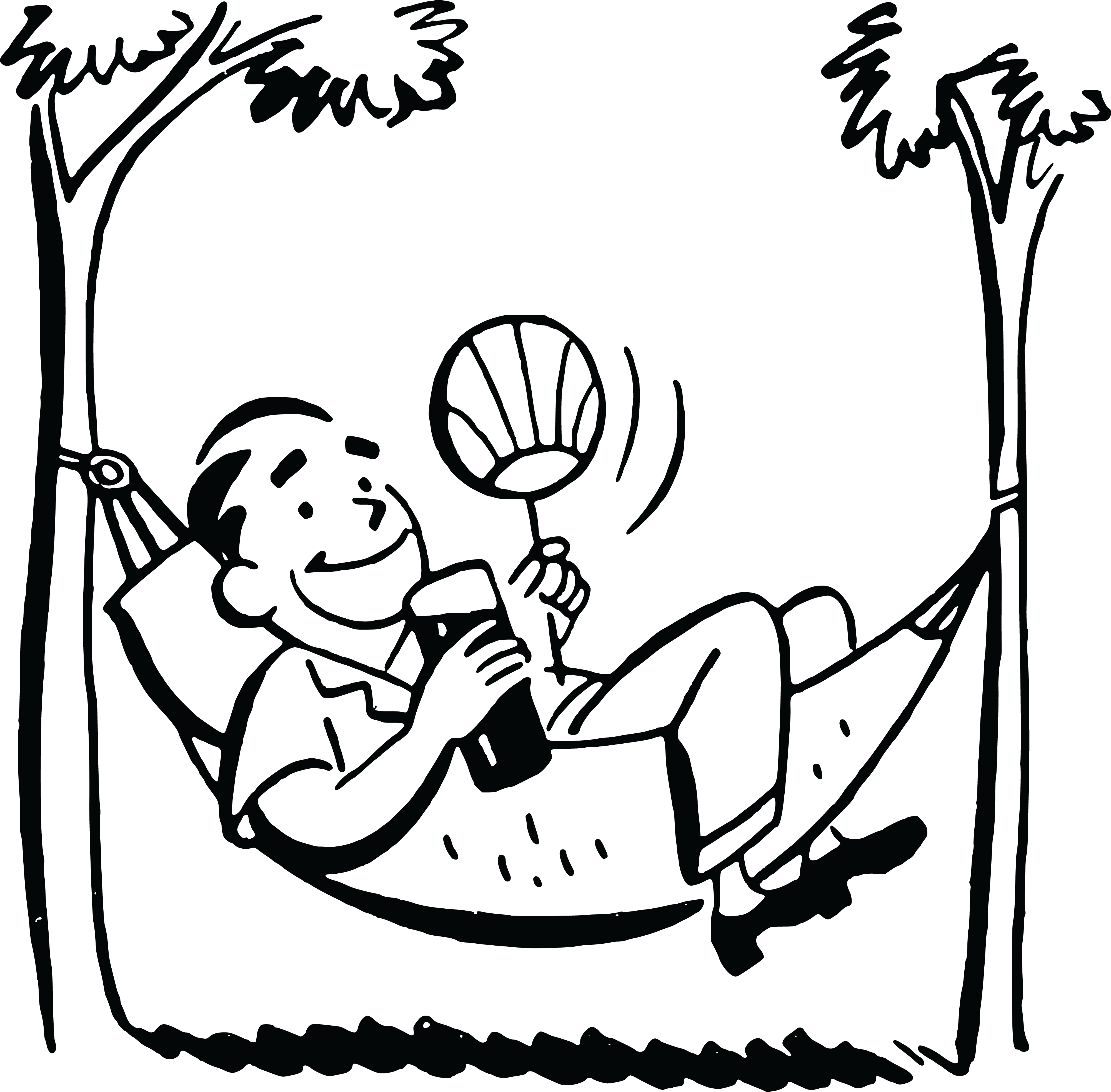free clipart of a black and white retro man relaxing in a hammock