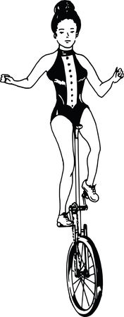 Free Clipart Of A Retro Black and White Circus Woman on a Unicycle