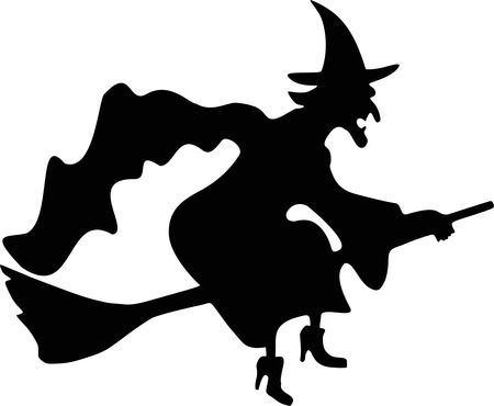 Witch Flying Silhouette - Free Halloween Vector Clipart Illustration