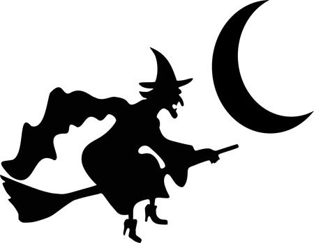 Witch Flying By Crescent Moon Silhouette - Free Halloween Vector Clipart Illustration