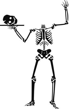 Human Skelton With Skull On A Platter - Free Halloween Vector Clipart Illustration