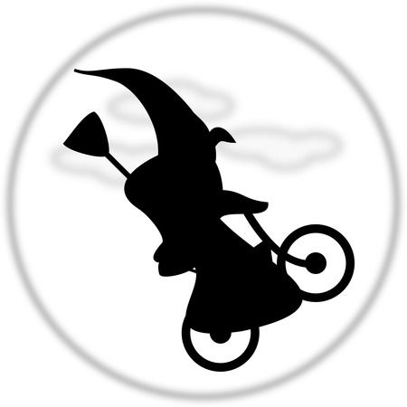 Silhouetted Witch Flying On A Bicycle - Free Halloween Vector Clipart Illustration