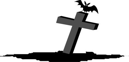 Bat On Tombstone - Free Halloween Vector Clipart Illustration