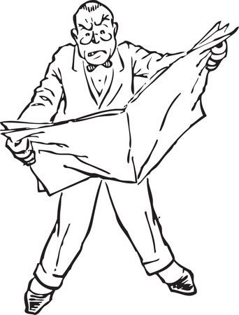 Mad Man Reading Newspaper - Free Retro Clipart Illustration