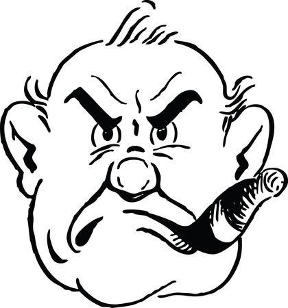 Grumpy Man Smoking Cigar - Free Retro Clipart Illustration