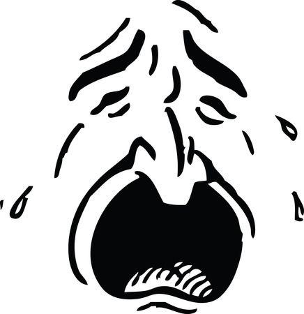 Crying Man - Free Retro Clipart Illustration