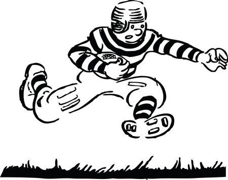 Football Player Running - Free Retro Sports Clipart Illustration