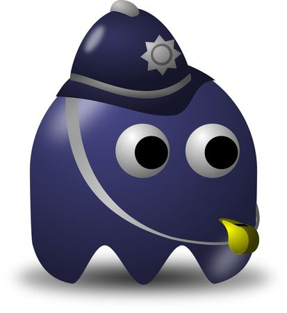 Policeman Avatar Character With A Whistle - Free Vector Clipart Illustration