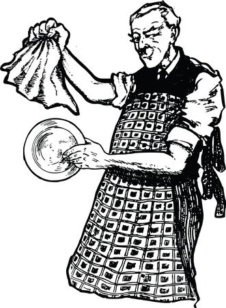 Free Clipart Of A man washing dishes