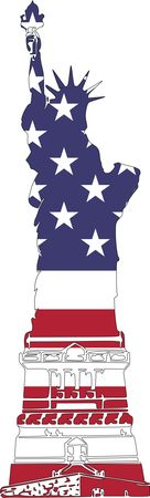 Free Clipart Of An american patterned statue of liberty