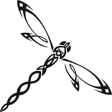 Free Clipart Of A tribal dragonfly
