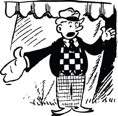 Retro Cartoon Circus Barker - Free Black And White Vector Clip Art Illustration