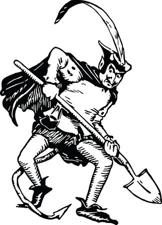 Free Clipart Of A devil digging with a shovel