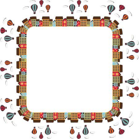 Free Clipart Of A hot air balloon festival city frame