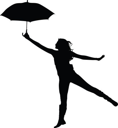 Free Clipart Of A woman dancing with an umbrella