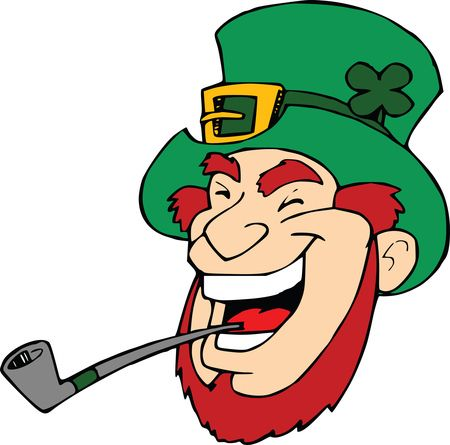 Free Clipart Of A Laughing Leprechaun With a Pipe