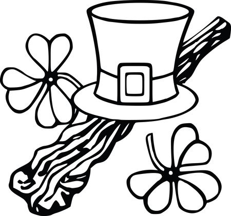 Free Clipart Of A Leprechan Hat and Shamrocks, Black and White Coloring Page Lineart