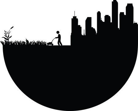 Free Clipart Of A man mowing a lawn near a city