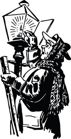 Free Clipart Of A man lighting a gas lamp