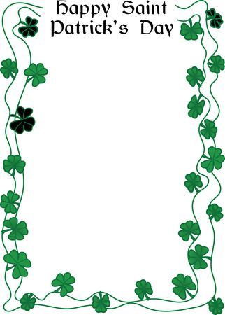 Free Clipart Of A Happy St Patricks Day Greeting and Shamrock Clover Border