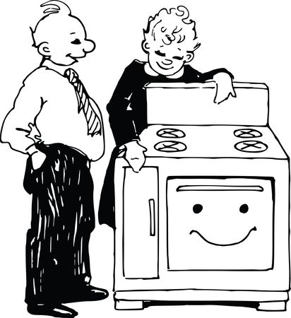 Free Clipart Of A retro salesman and woman looking at an oven