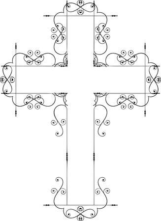 Free Clipart Of A cross swirl design