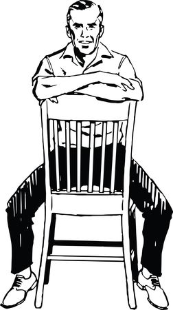 Free Clipart Of A retro man straddling a chair